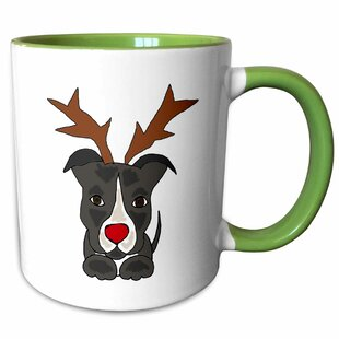 09dc0bb92 Biggins Funny Pitbull Dog Dressed as Rudolph Nosed Reindeer Coffee Mug