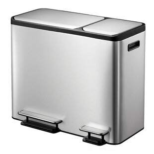 Arignote Stainless Steel 45 Litre Step On Multi Compartments Rubbish And Recycling Bin