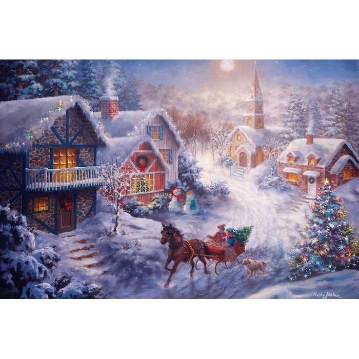 East Urban Home In A One Horse Open Sleigh Painting Print On