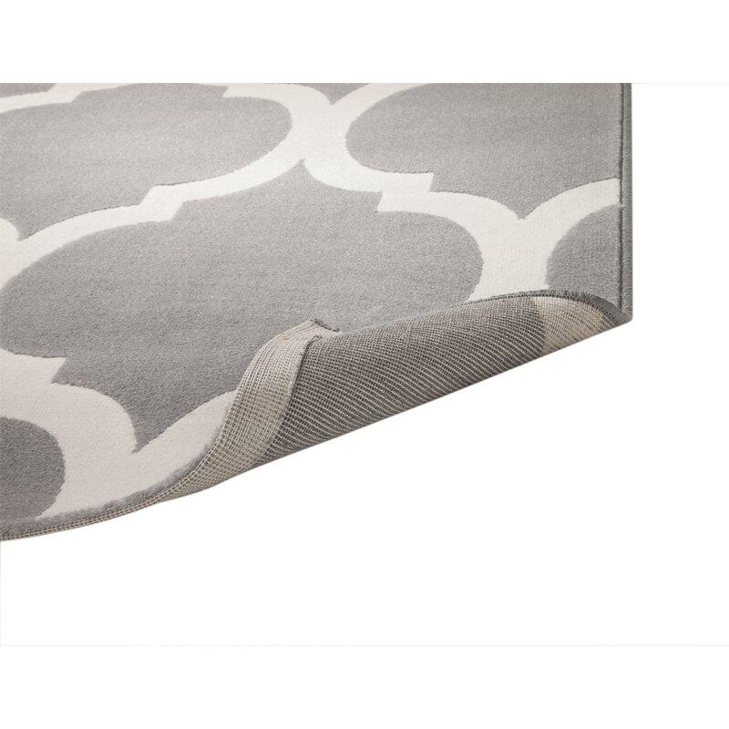 Estelle Trellis Machine Woven Synthetic Gray/Ivory Area Rug