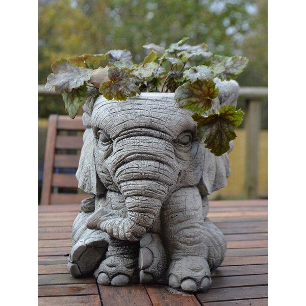 Garden Ornaments By Onefold Elephant Pot Stone Garden Statue U0026 Reviews |  Wayfair.co.uk