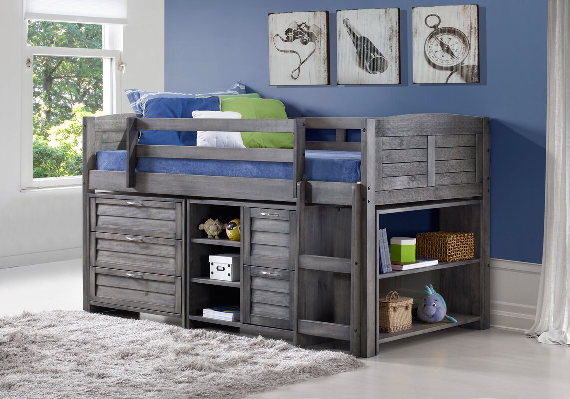 Childrens Animals Storage Box Chest 3 Kids Drawer Bedroom: Evan Twin Low Loft Slat Bed With Bookcase, Chest And