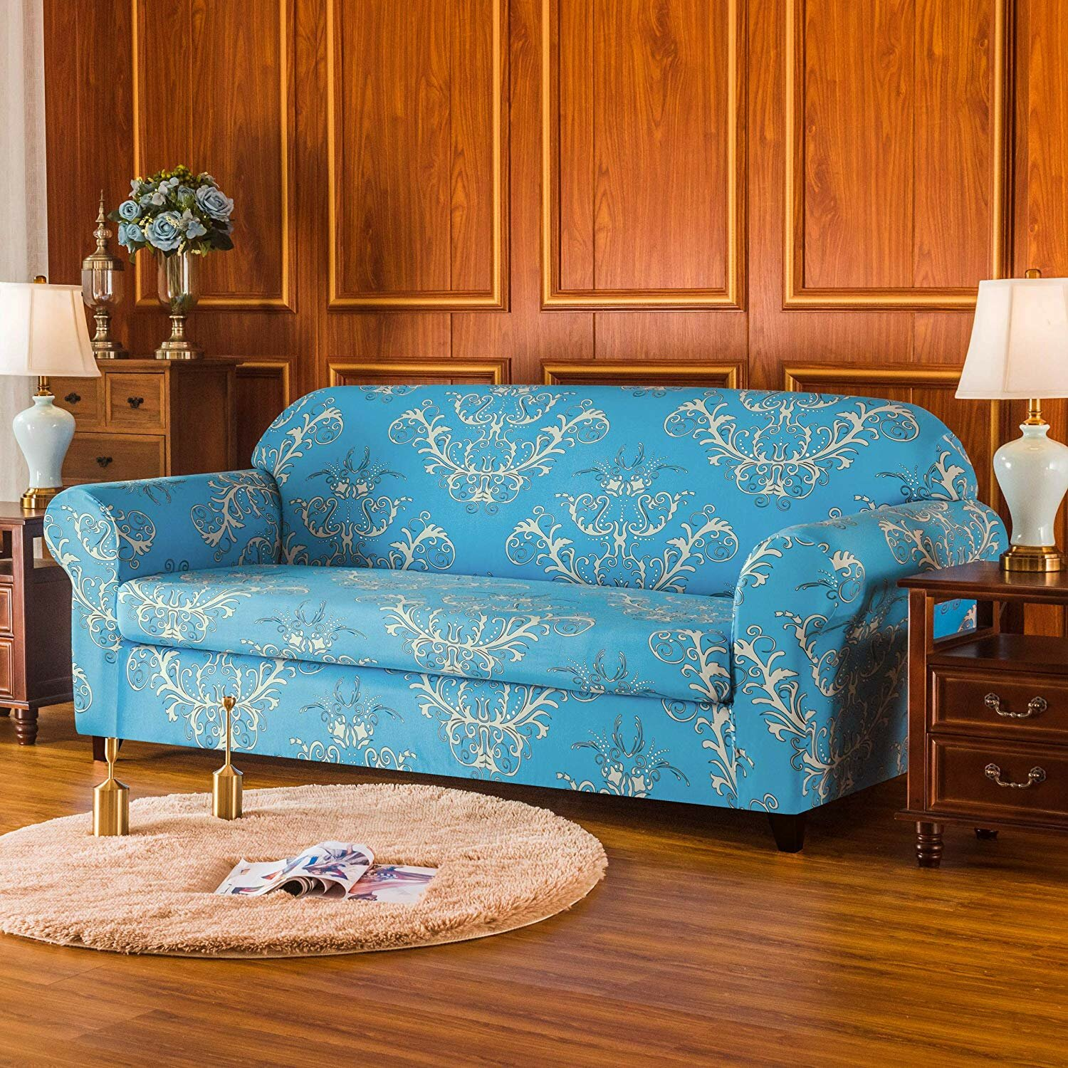 Remarkable Flower Printed Stretch Box Cushion Loveseat Slipcover Unemploymentrelief Wooden Chair Designs For Living Room Unemploymentrelieforg