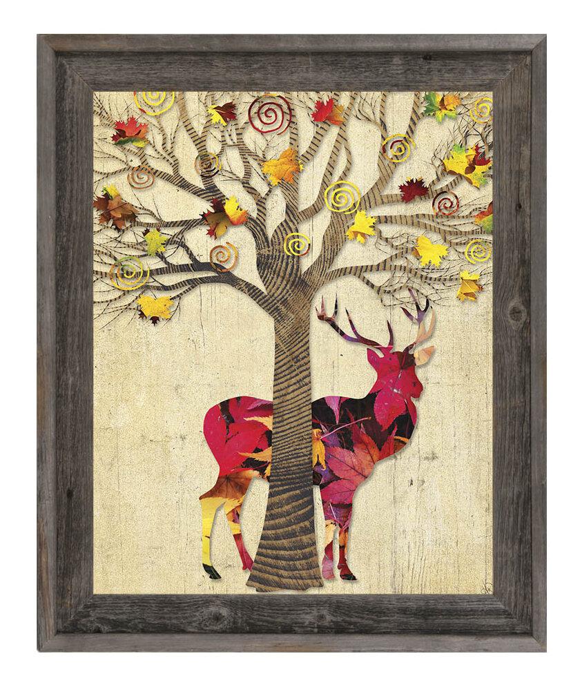 Click Wall Art \'Ruby Autumn Deer\' Framed Graphic Art | Wayfair