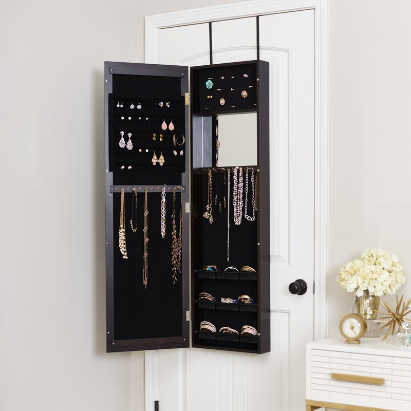 Modern Over The Door Jewelry Armoire with Mirror & Mercury Row Modern Over The Door Jewelry Armoire with Mirror ... Pezcame.Com