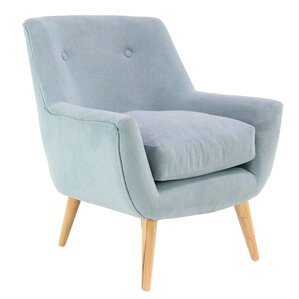 Veach Modern Wood and Fabric Tufted Armchair