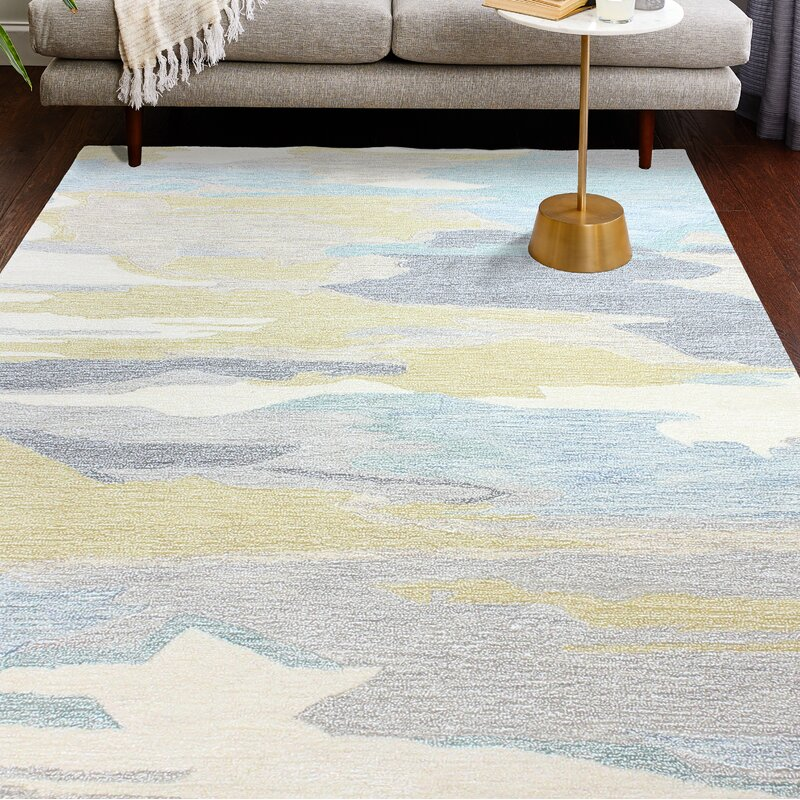 Ivy Bronx Jared Beige/Blue/Gold Area Rug, Size: Rectangle 76 x 96