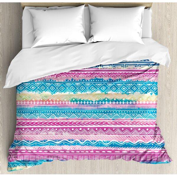 Ambesonne Tribal Tie Dye Effect Art Stripes Aquatic Theme Bohemian Aztec Print Duvet Cover Set Wayfair