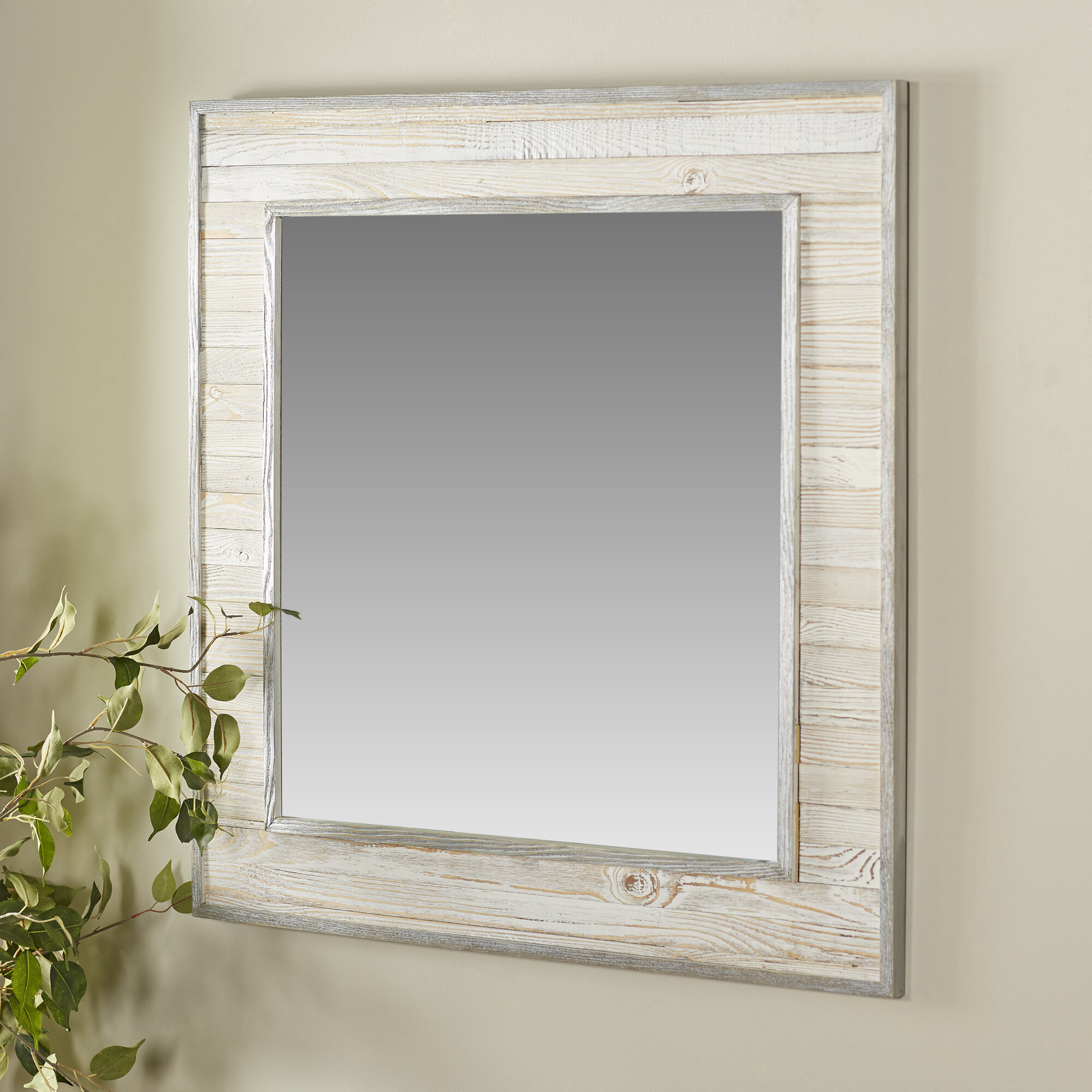 Rosecliff Heights Lexington Wood Square Wall Mirror & Reviews | Wayfair
