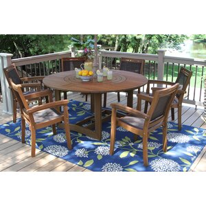 Mallie Eucalyptus and Sling Lazy Susan 7 Piece Dining Set