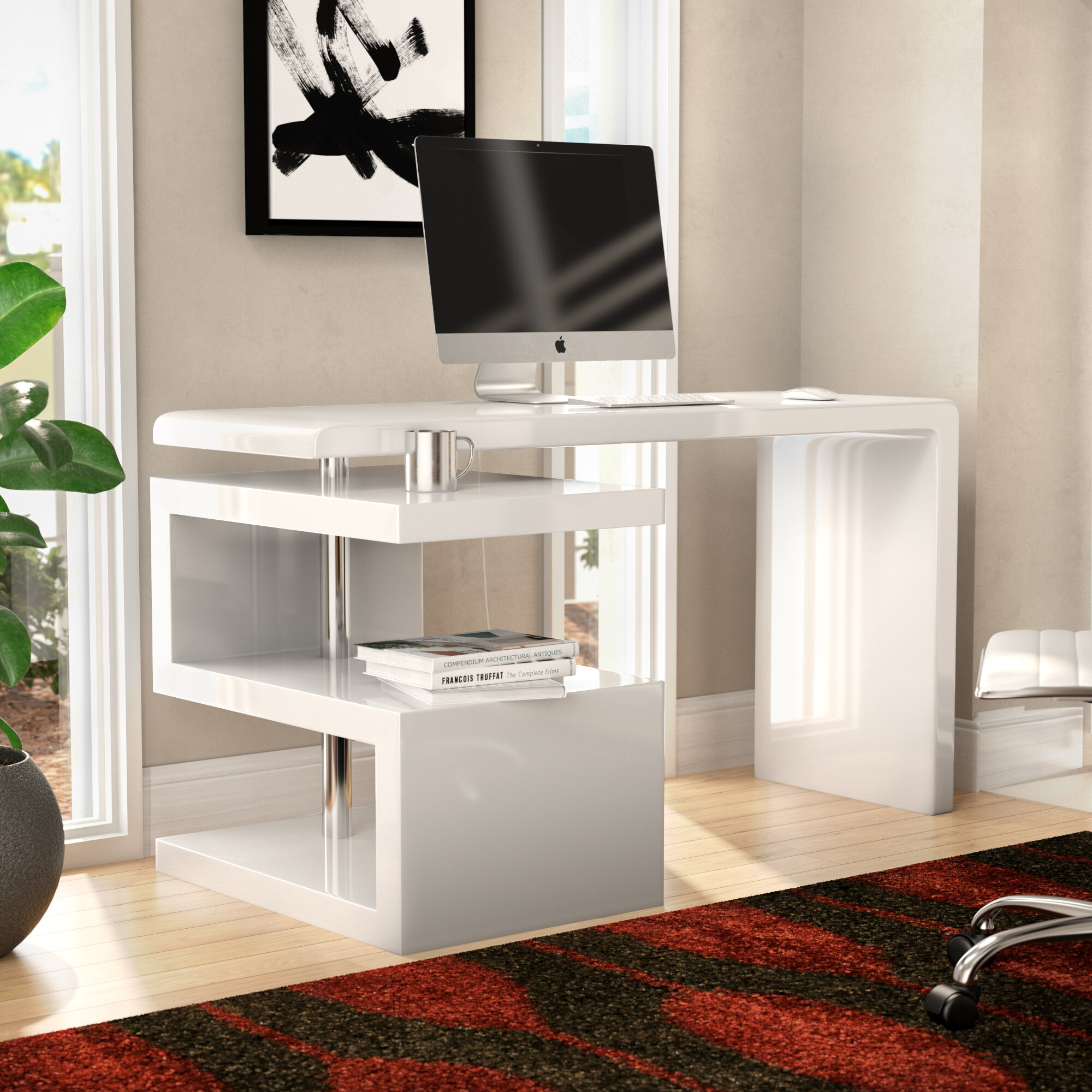 desk aosom computer table image grain home black products office homcom ca wooden