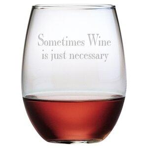 4 Piece Say It With Wine 21 Oz. Stemless Wine Glass Set