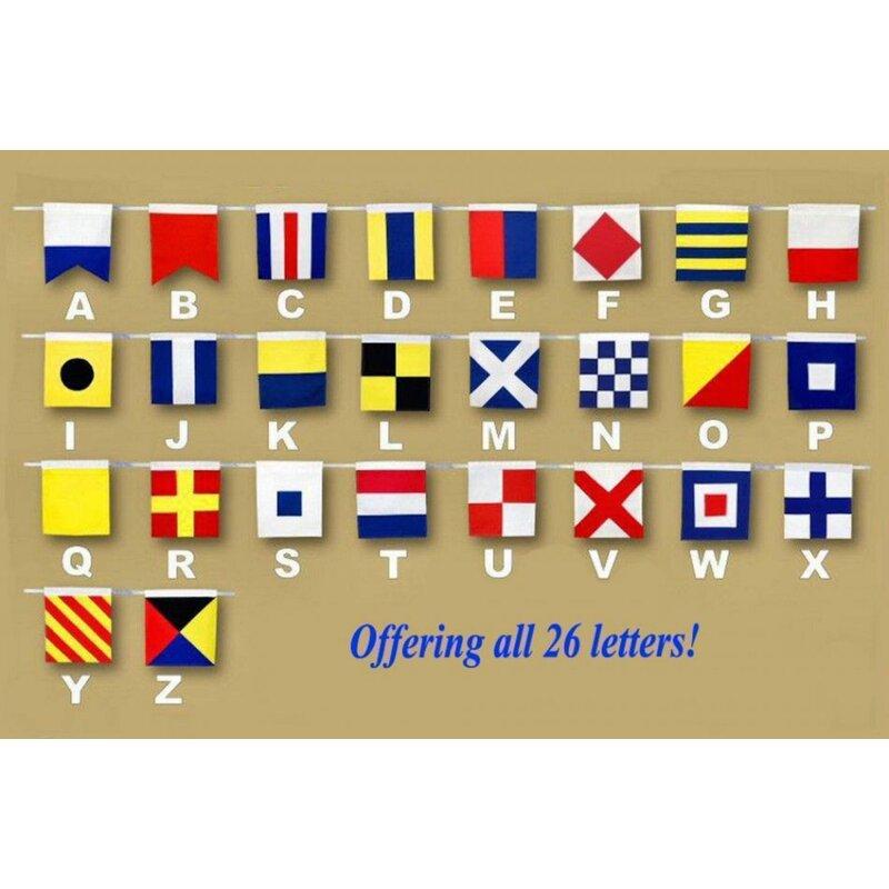 Beachcrest Home Letter Wooden Nautical Alphabet Flag Wall Décor ...