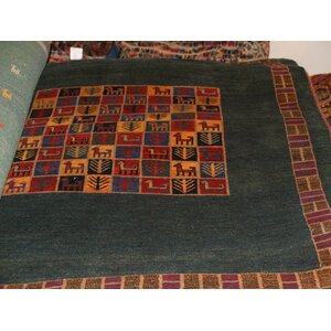 Gabbeh Hand-Knotted Black/Red Area Rug