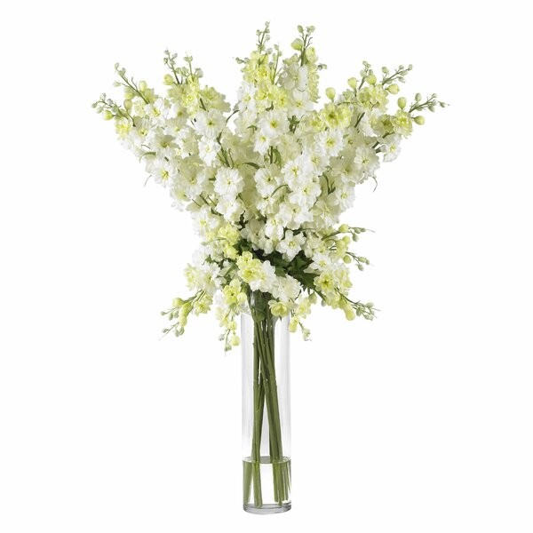 Nearly natural delphinium silk flower arrangement in white reviews nearly natural delphinium silk flower arrangement in white reviews wayfair mightylinksfo Image collections
