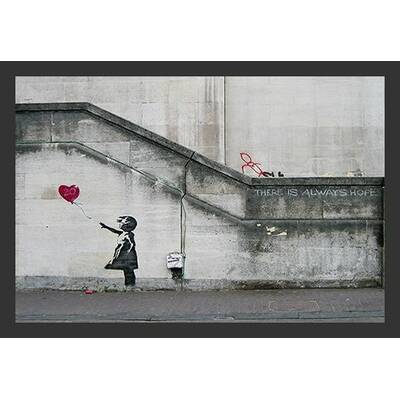 There Is Always Hope Balloon Girl By Banksy Framed Graphic Art