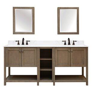 Aiden Bath 2 Shelf Modular Component For Double Bathroom Vanity Base