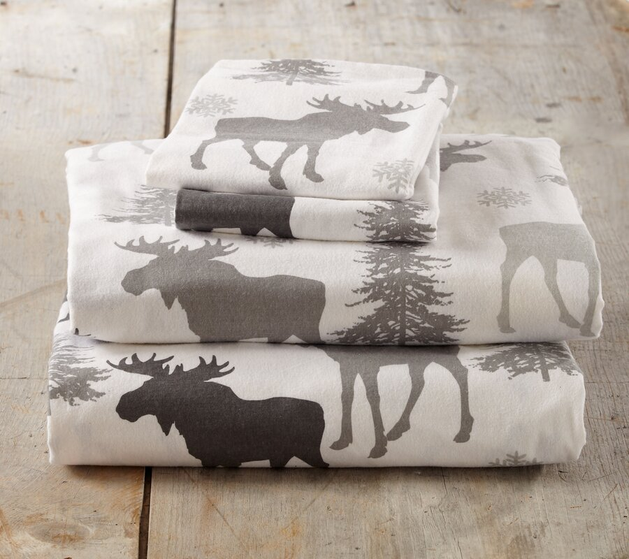 Loon Peak Clymer Moose Super Soft Printed Flannel Cotton