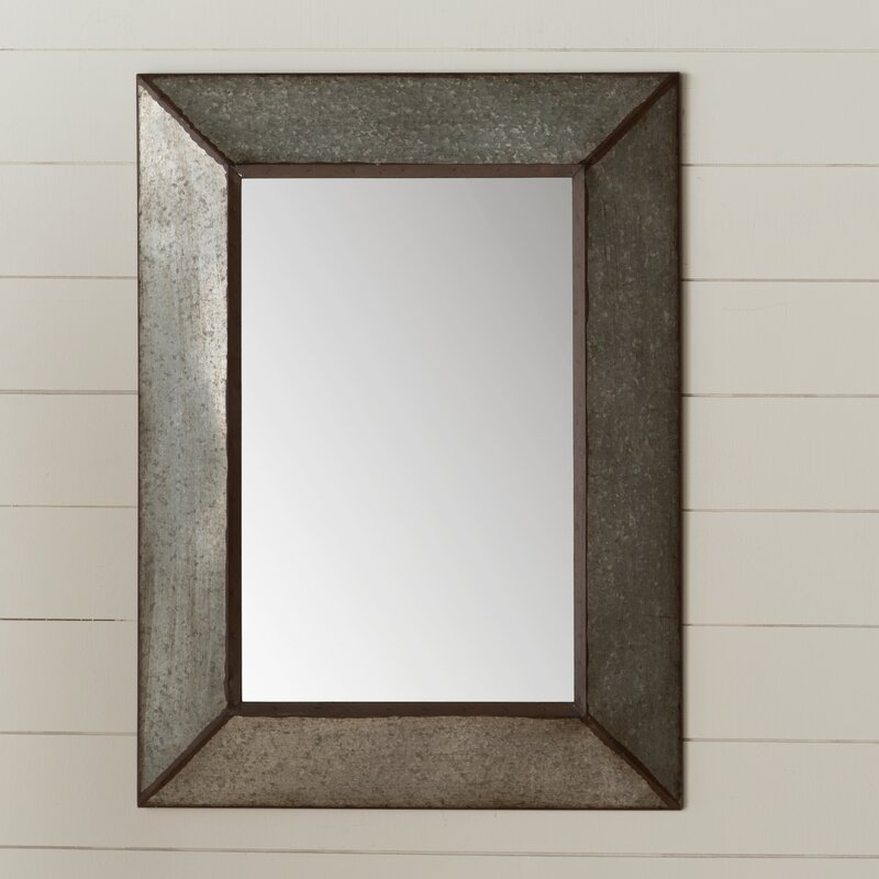 rectangle antique galvanized metal accent mirror - Metal Mirror Frame