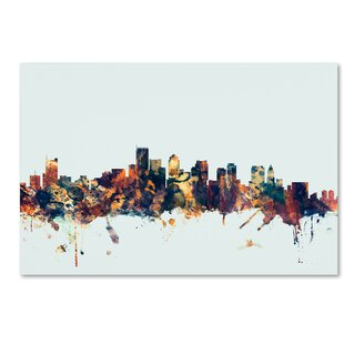 U0027Boston MA Skyline Blueu0027 Graphic Art On Wrapped Canvas