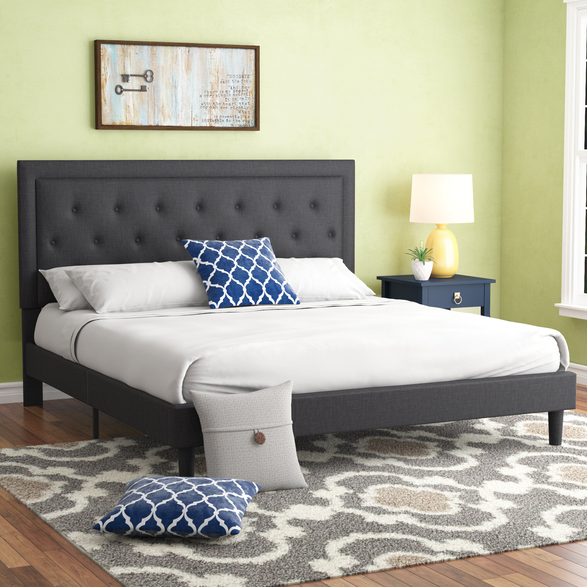 Charlton Home Porcaro Tufted Upholstered Platform Bed Reviews