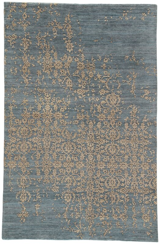 Jaipurliving Geode Scroll Hand Knotted Blue Tan Area Rug