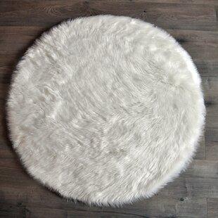 Attractive Faux Fur White Area Rug