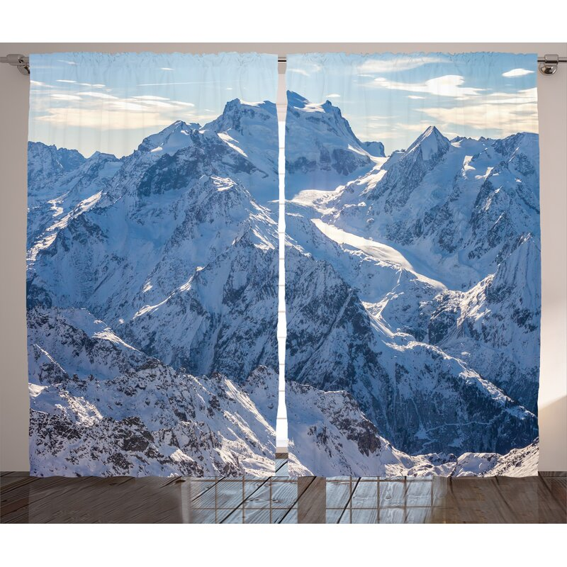 11ed655a11b Snowy Mountain Scene Under Sky Decor Graphic Print Room Darkening Rod  Pocket Curtain Panels