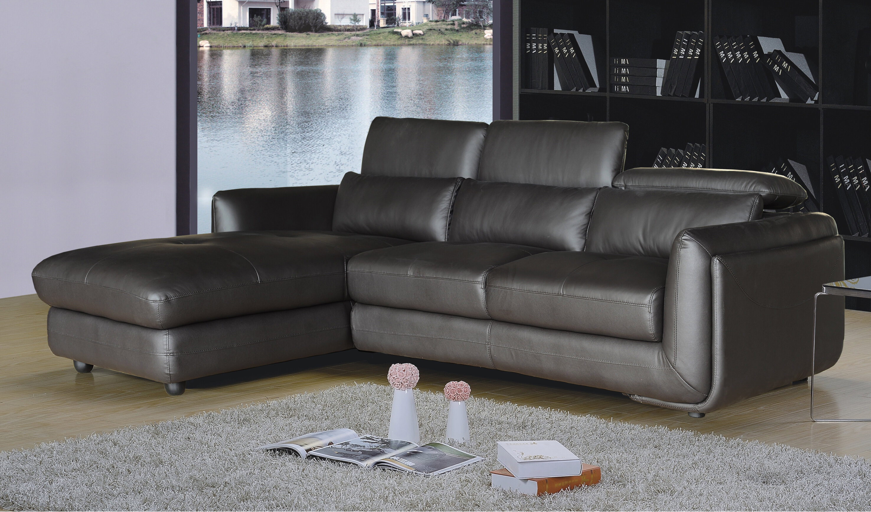 Incredible Modern Contemporary Full Grain Leather Sectional Allmodern Home Interior And Landscaping Mentranervesignezvosmurscom