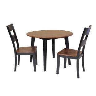 Dinh 3 Piece Drop Leaf Solid Wood Dining Set