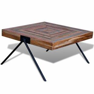 Metal legs coffee table wayfair aisha reclaimed teak v shaped legs coffee table watchthetrailerfo