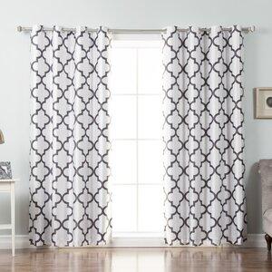 Columbard Tile Geometric Blackout Thermal Grommet Single Curtain Panel