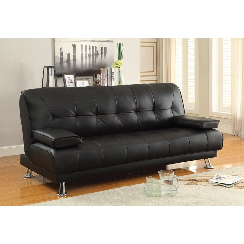 Latitude Run Schupple Faux Leather Convertible Sofa | Wayfair