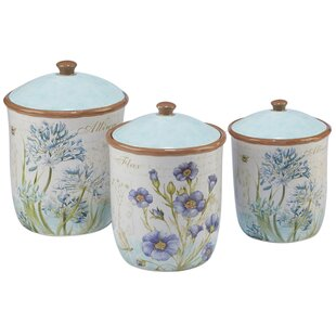 Herb Blossoms 3 Piece Kitchen Canister Set