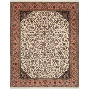 One-of-a-Kind Jamshidpour Hand-Knotted Cream Area Rug
