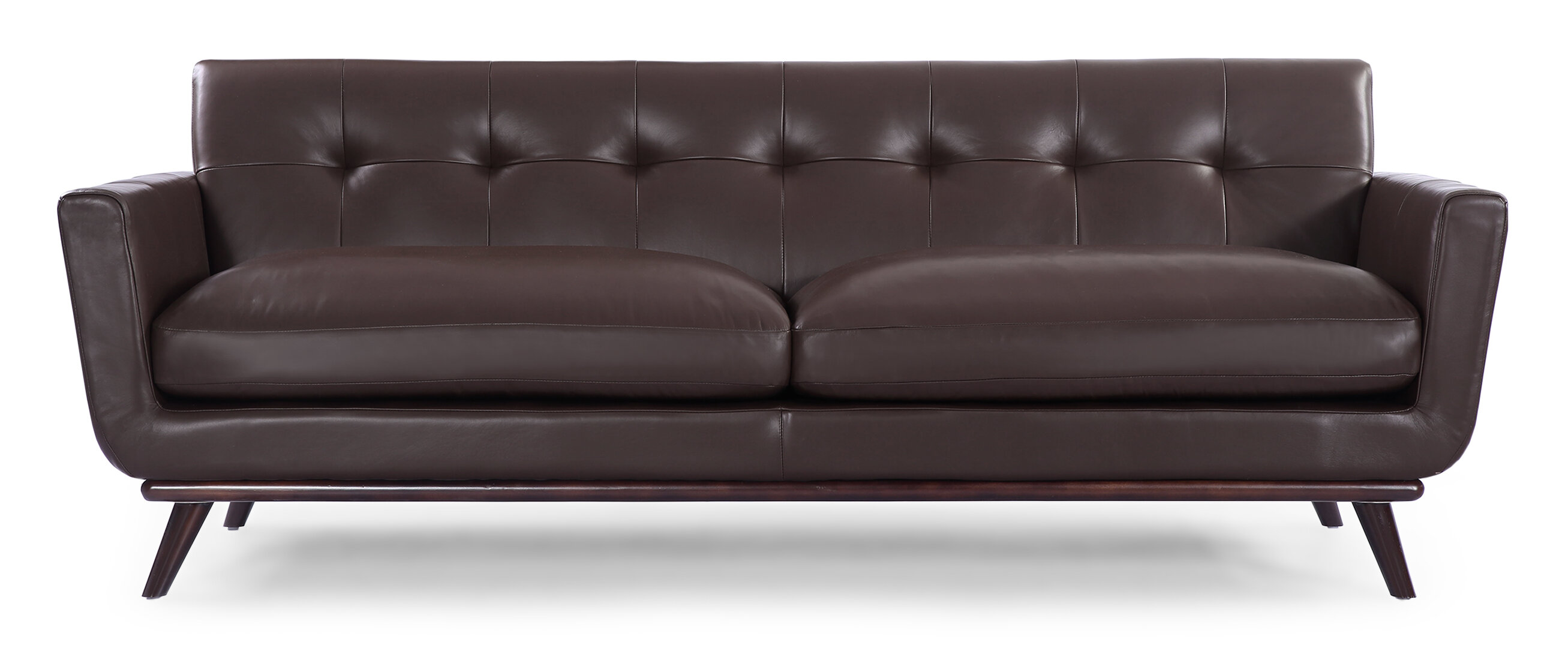 Corrigan studio luther mid century modern vintage leather sofa reviews wayfair