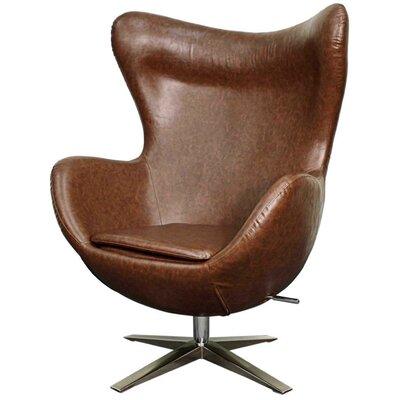 Brayden Studio Ledet Swivel Wingback Chair Upholstery: Distressed Brown