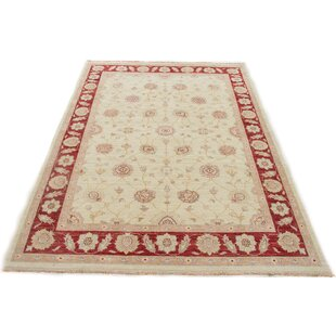 Forney Hand Knotted Wool Beige/Red Rug by Rosalind Wheeler