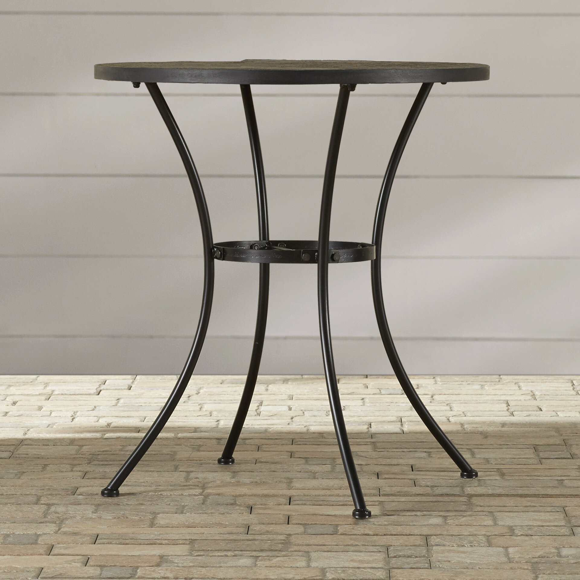 Alcott Hill Barker Ridge Round Bistro Table With Slate Top U0026 Reviews |  Wayfair