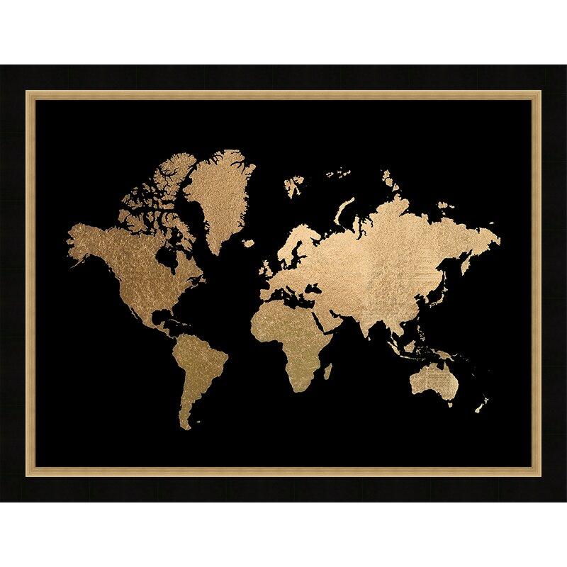 Brayden Studio Gold Foil World Map Framed Graphic Art Print Wayfair