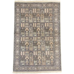 Putnam Hand Knotted Silk Beige/Green/Black Rug by World Menagerie