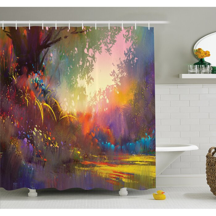 Magical Lake With Brush Effects Surreal Nature Elf Tranquil Art Print Shower Curtain Set