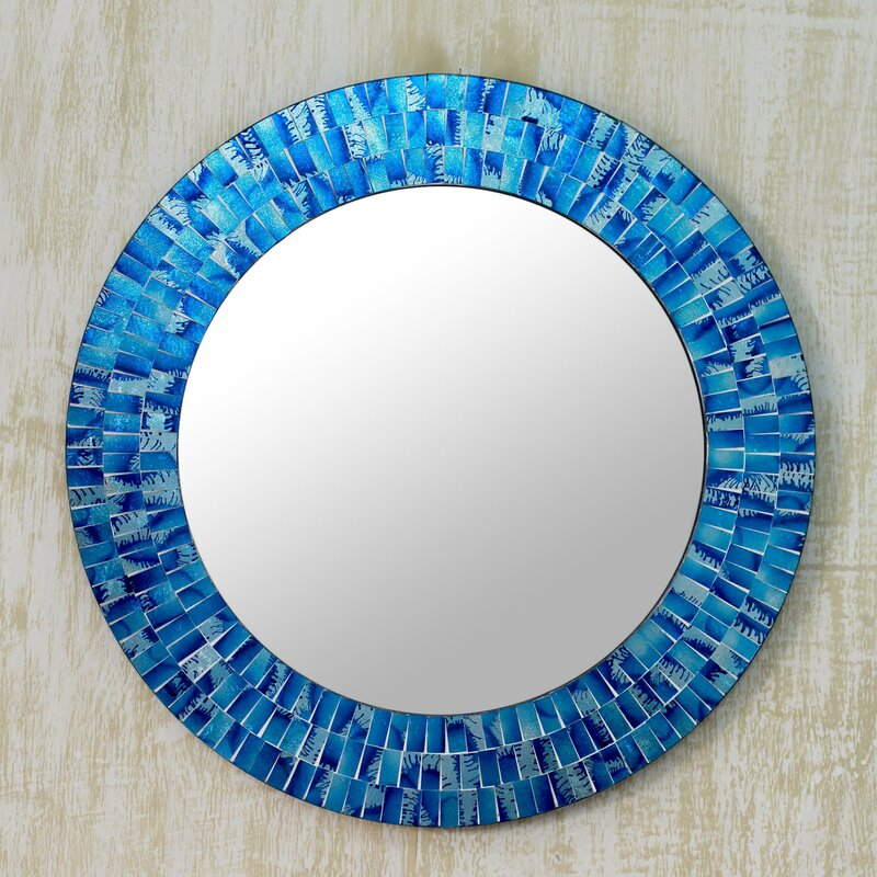 Blue Wall Mirror novica glass tile round wall mirror & reviews | wayfair