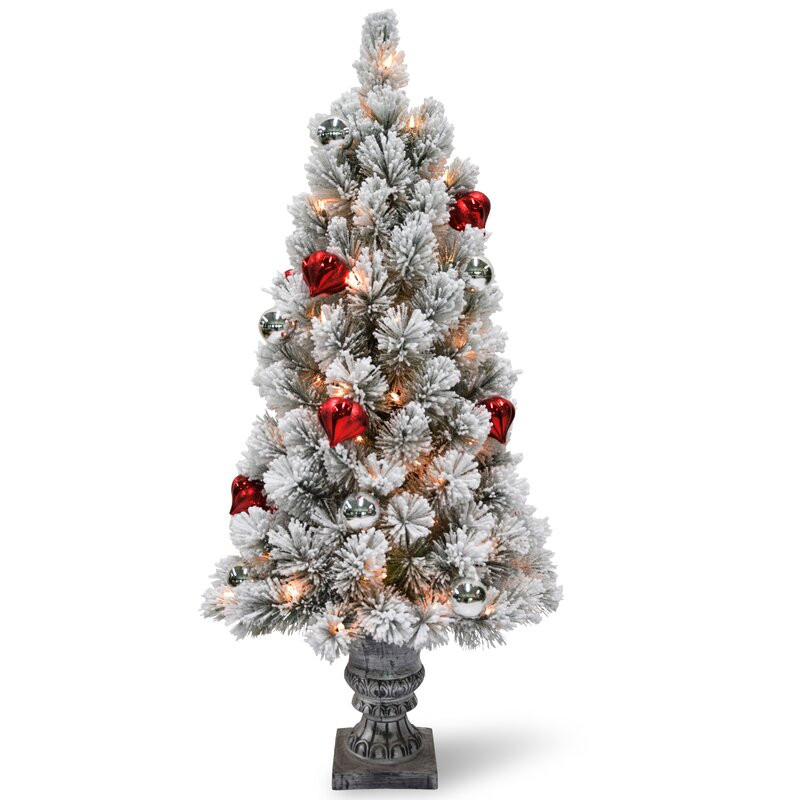 Small Battery Operated Christmas Tree: The Holiday Aisle Snowy Bristle Tabletop 2' White/Green
