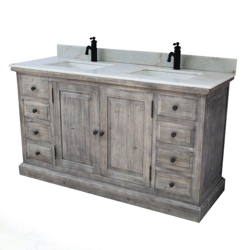 Laurel Foundry Modern Farmhouse Carlton 60 2 Sink Bathroom Vanity