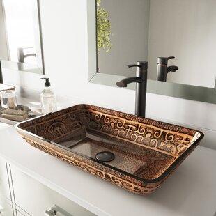 save vigo golden greek glass rectangular vessel bathroom sink - Bathroom Vessel Sinks