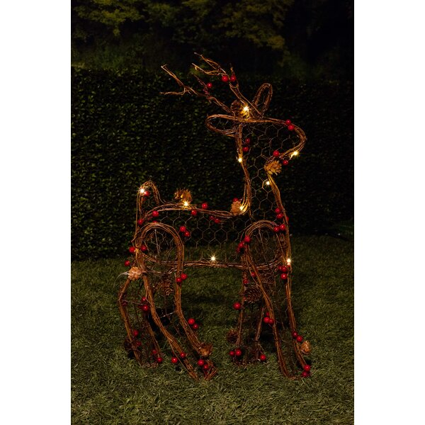 alpine christmas rattan light up reindeer lighted display reviews wayfair - Animated Lighted Reindeer Christmas Decoration