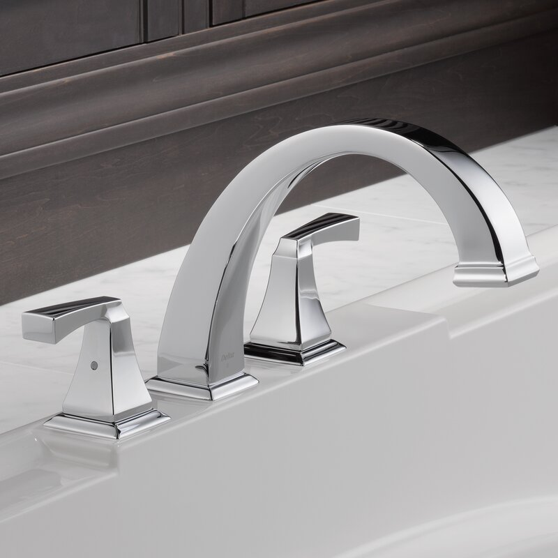 dryden double handle deck mount roman tub faucet trim