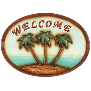 Welcome Palm Trees Garden Plaque