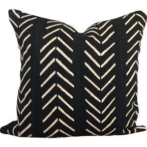 Chevron Arrow Print African Mud Cloth Pillow Cover. Black White